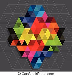 Rainbow triangles with line water mark background