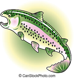 Rainbow Trout Clip Art - Rainbow Trout with mouth open as if...