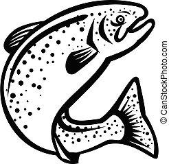 rainbow-trout-fish-jumping-up-retro-bw-cut