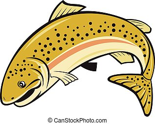 Rainbow Trout Jumping Cartoon Isolated