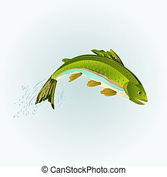Rainbow trout jumping vector.eps - Leaping rainbow trout...