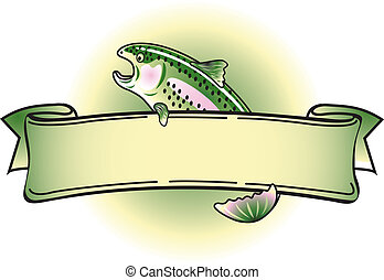 Rainbow Trout Tattoo Banner Clipart - Rainbow Trout with ...