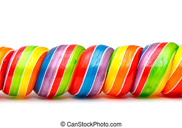 Rainbow Twirl Lollipop Candies, closeup