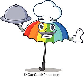 Rainbow umbrella as a chef cartoon character with food on tray