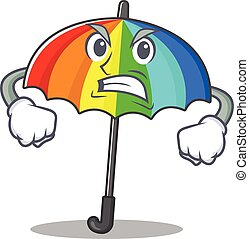 rainbow umbrella cartoon character design with angry face
