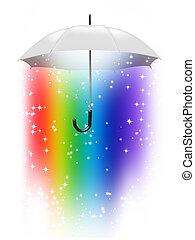 rainbow umbrella - white umbrella with a rainbow inside...