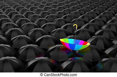 Rainbow umbrella - Huge number of open black umbrellas, on...