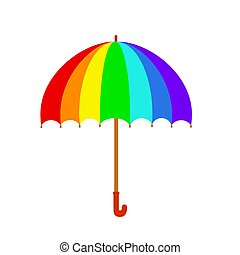 Rainbow umbrella icon. Colorful umbrella isolated on white background. Stock vector in cartoon style