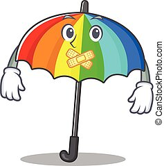 Rainbow umbrella mascot cartoon character design with silent gesture