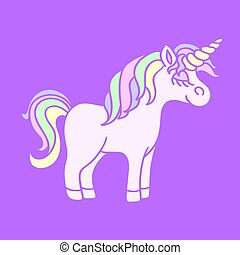 Rainbow unicorn on the purple background