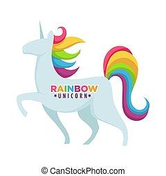 Rainbow unicorn poster with headline title vector illustration