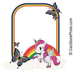Rainbow Unicorn with Butterflies Frame