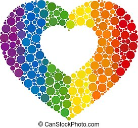 Rainbow Valentine heart Mosaic Icon of Spheric Dots