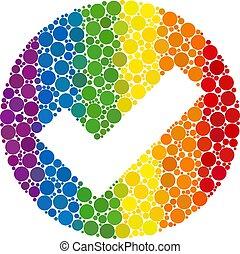 Rainbow Valid Mosaic Icon of Spheric Dots