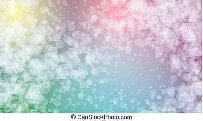 Rainbow vector background of hexagons