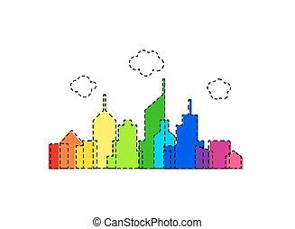 Rainbow vector cityscape design
