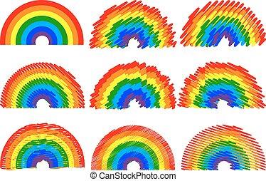 rainbow Vector illustration - set