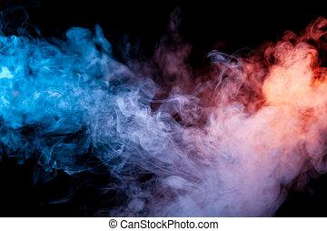 rainbow:, verdampen, sigaret, t-shirt, achtergrond., vape, tegen, donker, sinaasappel, kleuren, gele, cyan, rook, rood, magenta, stoot, elektronisch, exhaled, print.