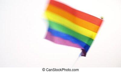 rainbow verfärbte, gay, winkende , lgbt, fahne, stolz, oder