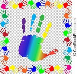 rainbow verfärbte, groß, handfläche, handprints, umrandungen, zentrieren