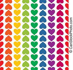 rainbow verfärbte, muster, seamless, vektor, herzen, mögen