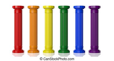 rainbow verfärbte, sechs, pfeiler, übertragung, 3d