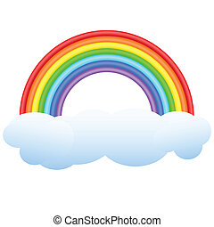 Rainbow. - Volume rainbow on a cloud. A composition on a ...