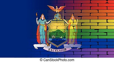Rainbow Wall New York State - A well worn wall painted with...
