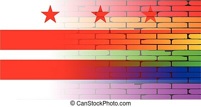 A well worn wall painted with a LGBT rainbow with the Washington DC flag