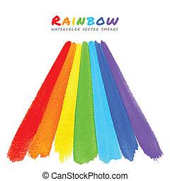 Rainbow Watercolor Brush Smears, vector illustration