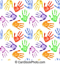 Rainbow watercolor hand prints - colorful seamless...