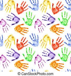Rainbow watercolor hand prints
