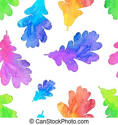 Rainbow watercolor painted oak leaves seamless pattern -...