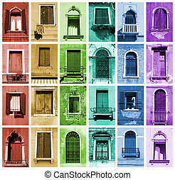 Windows of Venice, Italy. Window collection in rainbow arrangement.
