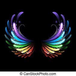 rainbow wings - wings, painted with colorful sparkles on a ...
