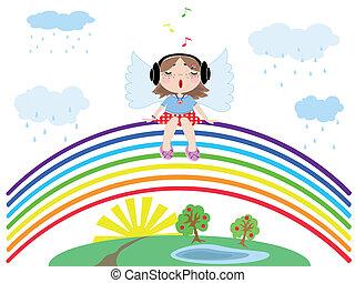 Rainbow with angel