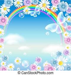 Rainbow with butterflies and flowers in the clouds sky