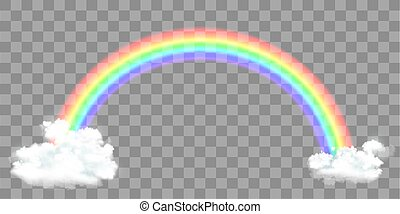 Rainbow with clouds isolated on a transparent background.