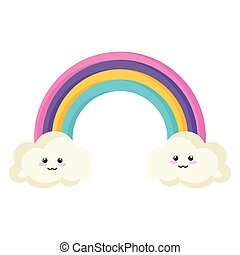 rainbow with clouds kawaii characters