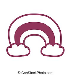 rainbow with clouds on white background, line style icon
