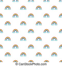 Rainbow with clouds pattern