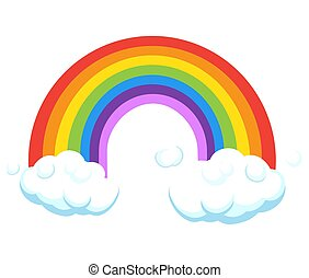 Rainbow with clouds sign isolated on white. Greeting card cartoon illustration, icon