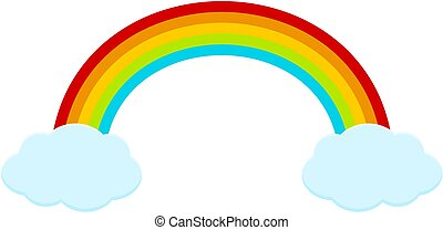 Rainbow with clouds. Vector illustration isolated on white background.
