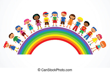 illustration with rainbow, happy children and colorful flowers
