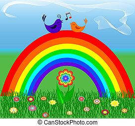 Rainbow with love bird