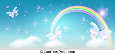 Rainbow with magic butterflies in the sky and sparkle stars