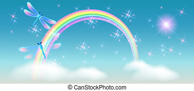 Rainbow with magic dragonfly in the sky and sparkle stars