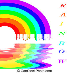 Rainbow with multi-coloured drops and reflexion in water