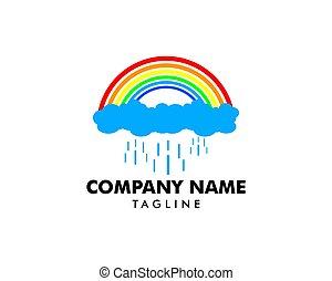 Rainbow with Rain Logo design vector template