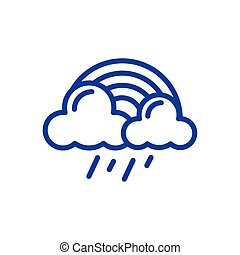 rainbow with rainy clouds icon, line style design